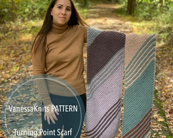 KNITTING PATTERN - Turning Point Scarf // Two Size Options // Hue + Me // Beginner Knitter // Bulky Weight Scarf // Level: Easy