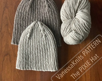 KNITTING PATTERN - The PIXIE Hat // Simple Ribbed Toque Beanie with 4 Point Crown Shaping // Written & Charted Instructions // Level: Easy+