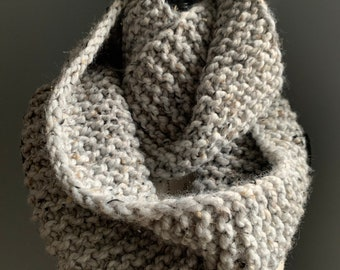 Double Loop Infinity Scarf / Cowl - Cozy & Warm Chunky Wool Blend - Hand Knit by VanessaKnits