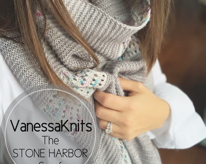Featured listing image: KNITTING PATTERN - Stone Harbor Scarf // Oversized Wrap Shawl // Tassels // Lace and Garter // Fingering Weight Scarf // Level: Easy+