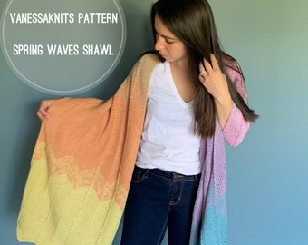 KNITTING PATTERN - Spring Waves Shawl // Oversized - Chevron // Written Instructions + Video Tutorial // Level: Easy+