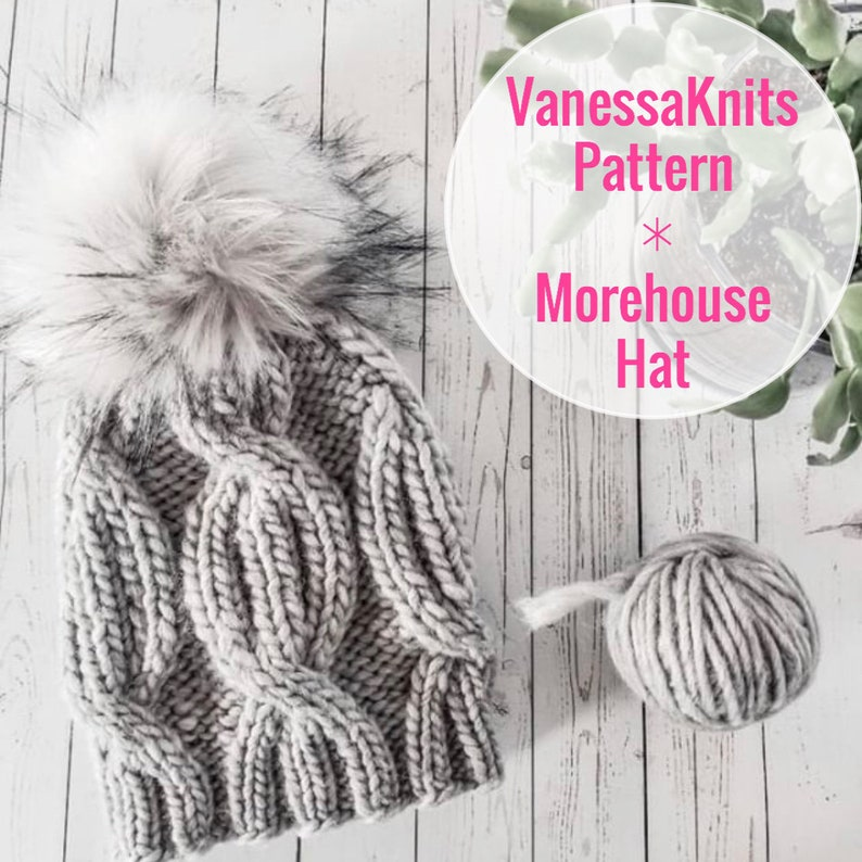 KNITTING PATTERN  The MOREHOUSE Hat // Cabled Toque  Beanie image 0