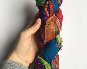 Recycled Silk Sari Ribbon - Art Yarn - Handmade, Eco-Friendly & Socially Responsible - 1 Skein