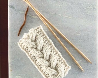 The EMMA Cabled Ear Warmer // Chunky Knit Headband in Classic Winter White / Ivory // Ready to Ship!