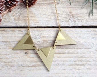 Triangle Necklace Geometric Necklace Triangle Jewellery Geometric Jewellery Laser Cut Wooden Necklace Gifts for Her Gift for Women - Gold