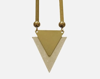 Geometric necklace/triangle necklace/geometric jewellery/triangle jewellery/Art Deco necklace/wood&brass/ gift for her