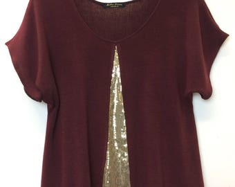 Sequin Flash top in mulberry   gold sequin - Women s evening top - party  top - women clothing 7a2bdbdb765de