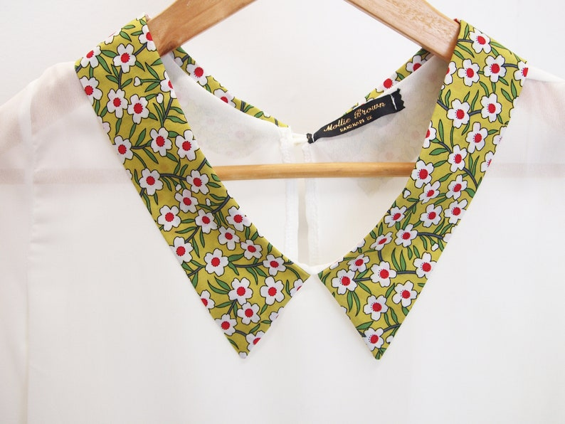 floral print collared top handmade blouse