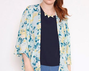 Kimono Chiffon Floral Kimono Cardigan Kimono Jacket Light Weight Summer Jacket in Mint Green Floral -Gift for Her Gift for Women -Sale