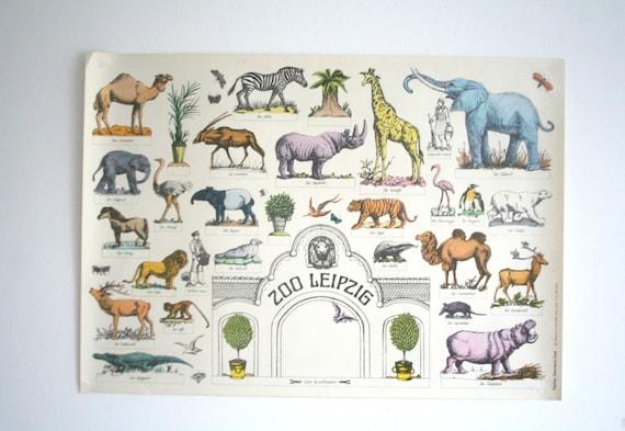 Original Zoo Werbung Poster Leipzig Ddr Ddr Der 1970er Etsy