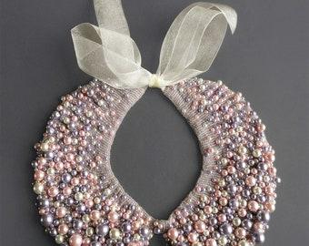Handmade pearl collar, necklace