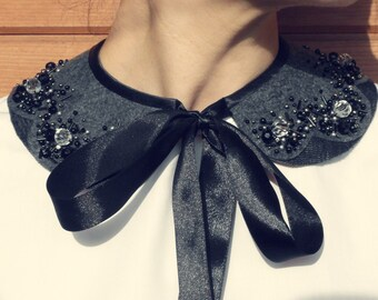 Handmade pearl collar, necklace vintage style