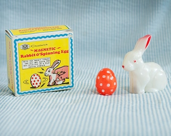 Vintage 1970s Chadwick magnetic rabbit and spinning egg