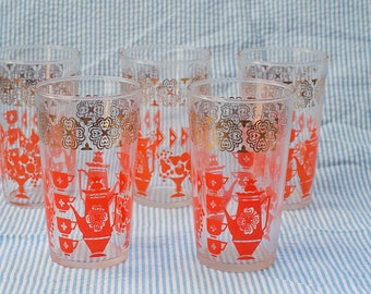 Vintage 1960s Drinking Glasses, set of 5