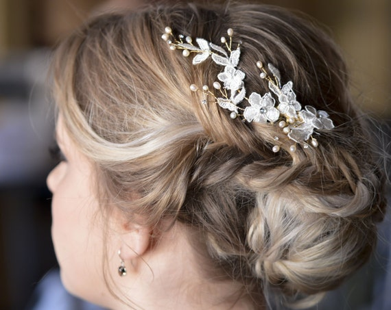 Bridal Lace Headpiece - Side Hair Comb