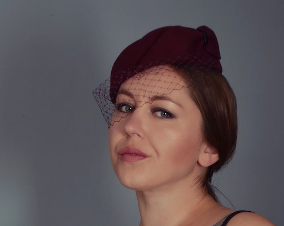 Burgundy Fascinator - Cocktail Hat