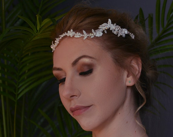 Bridal Hair Vine, Bridal Headpiece, Wedding Hairpiece, Bridal Flower Crown, Headband, Bohemian, Flower Headband, Lace Headpiece, White Lace