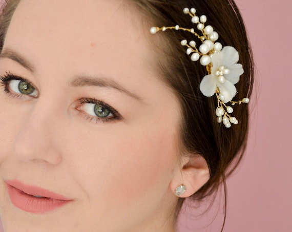 Bridal Hair Comb With Freshwater Pearls And Flowers