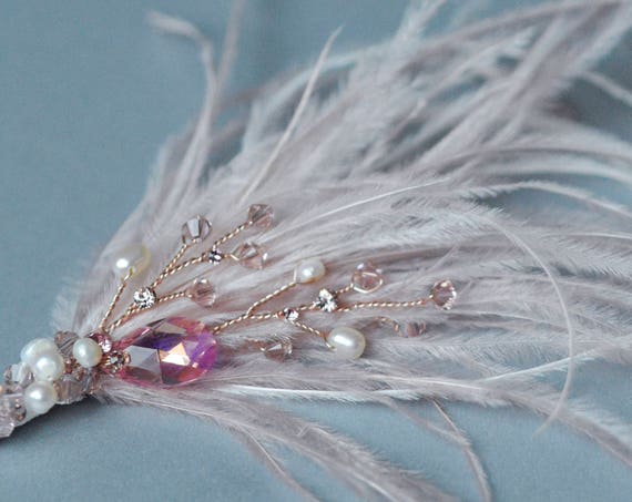 Gatsby Hair Clip, Crystal Hairpiece, Pink Fascinator, Ostrich Feathers, Rose Gold Hair Jewelry, Blush Pink Hair Pin, Wedding Accessories
