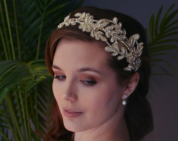 Bridal Headpiece, Bridal Hair Vine, Bridal Headband,  Bridal Hair Piece, Ivory Lace Headpiece , Vintage Style, Bridal  Hairpiece, Boho
