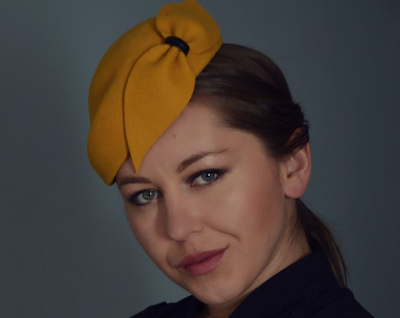 Mustard Yellow Fascinator - Cocktail Hat