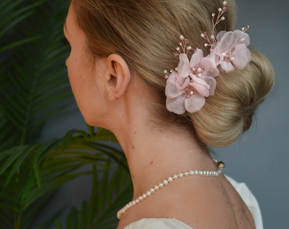 Blush Pink Hair Flowers
