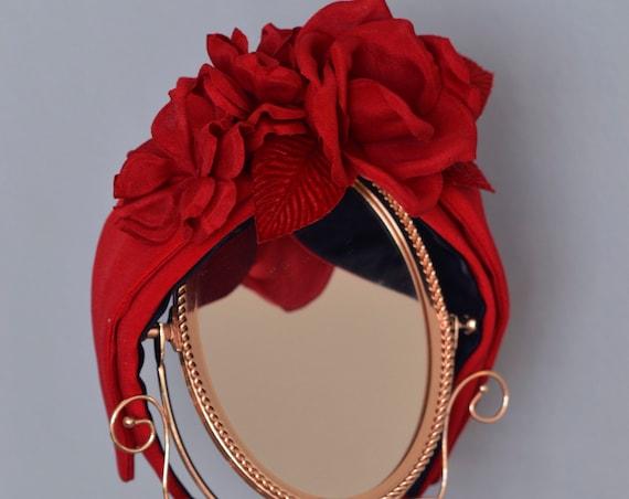 Fascinator Headband ,Floral Turban Headband, Silk Turban Headband, Red Fascinator, Red Hair Flowers, Floral Headpiece, Silk Headwrap,