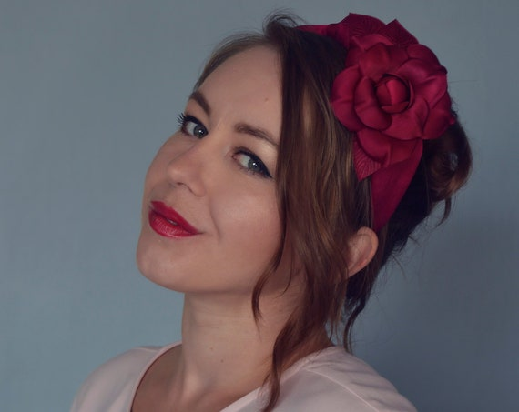 Fascinator Headband, Floral Turban Headband, Silk Turban Headband, Hot Pink Fascinator, Flower Headband, Silk Headband, Pink Headpiece