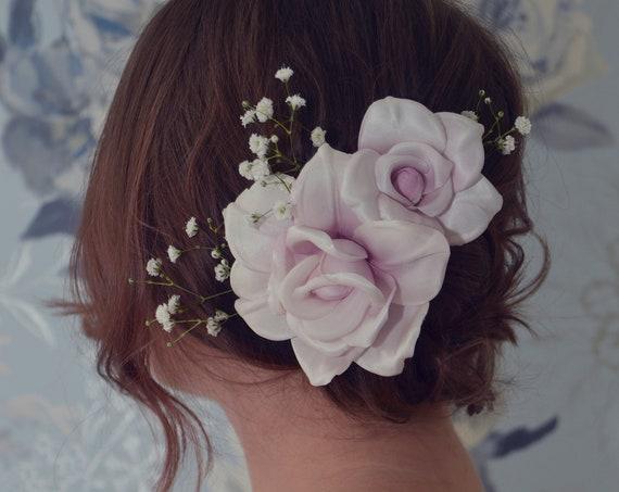 Bridal Headpiece, Floral Hair Pins, Bridal Hair Pins, Blush Pink Flowers, Silk Roses, Hair Clip, Couture Wedding Flowers ,Bridal Hair Flower