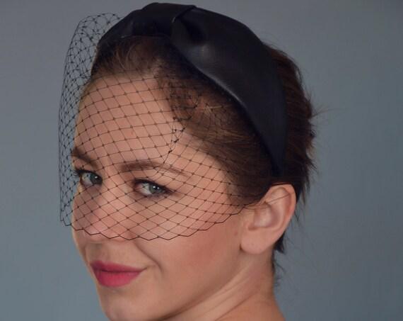 Leather Turban Headband, Birdcage Veil Headband, Black Fascinator Headband, Black Birdcage Veil, Evening Turban, Vintage Style Fascinator