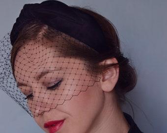 Turban Headband With Birdcage Veil, Black Turban Headpiece, Birdcage Veil Fascinator, Hair Accessories, Vintage style