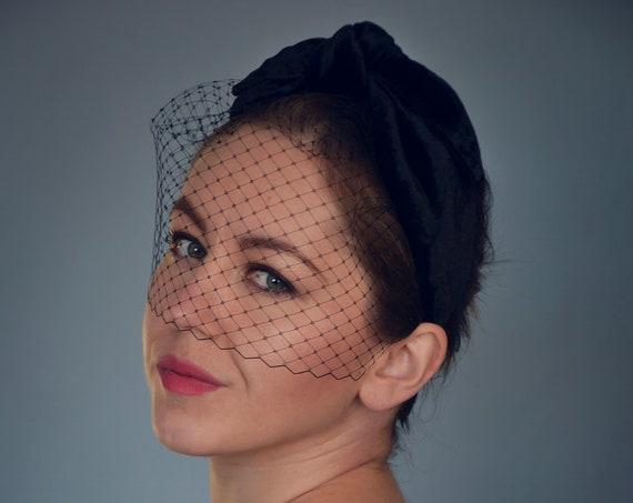 Turban Headband With Birdcage Veil