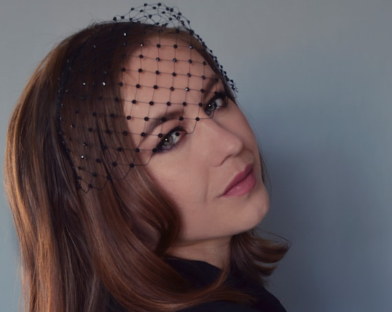 Merry Widow Birdcage Veil With Crystals