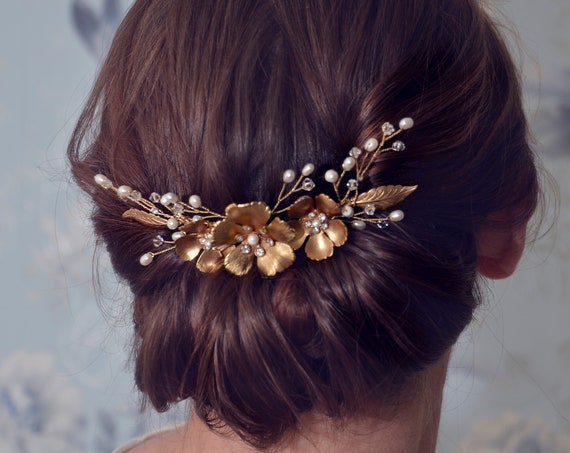 Gold Hair Comb, Bridal Hair Comb, Flower Hair Comb, Bridal Headpiece, Bridal Hairpiece, Hair Accessories, Wedding Headpiece, Side hair comb