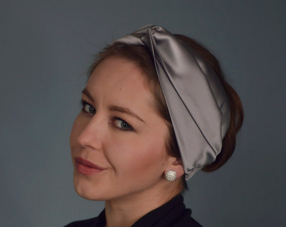 Silk Turban Headband, Turban Headwrap, Grey Fascinator, Fashion Turban, Women's Headwrap, Vintage Style Turban, Hair Accessories