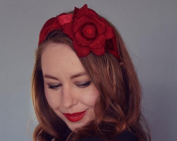 Floral Turban Headband - Red Fascinator
