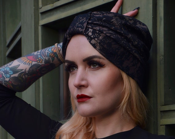 Turban Hat, Black Lace Turban Hat, Old Hollywood Turban, Lace Headpiece, Hair Accessories, Vintage Style Turban, Headwrap, turban headband