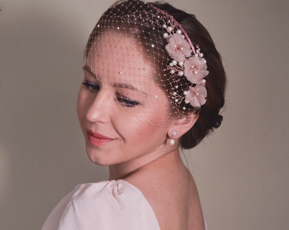 Pink Fascinator, Birdcage Veil, Bridal Headpiece, Cherry Blossom, Short Veil, Blush Pink Veil,  Flower Headband,Pink , Wedding Fascinator,