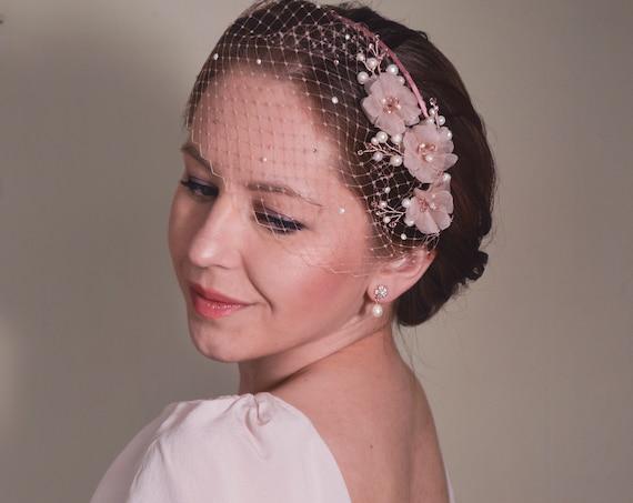 Pink Fascinator, Birdcage Veil, Bridal Headpiece, Cherry Blossom, Short Veil, Blush Pink Veil,  Flower Headband,Pink , Wedding Fascinator,