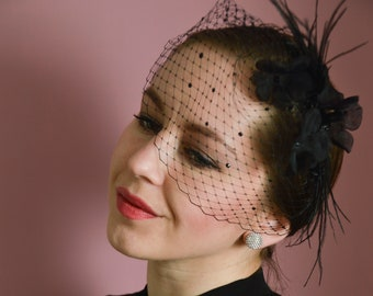 Black Birdcage Veil,  Black Fascinator, Veil with Crystals, Veil Headband, Floral Fascinator Headband, Vintage Glamour, Gothic Veil