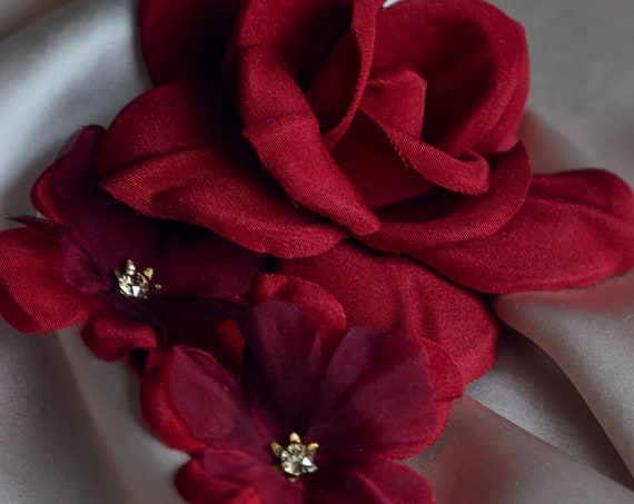 Red Roses Hair Pins