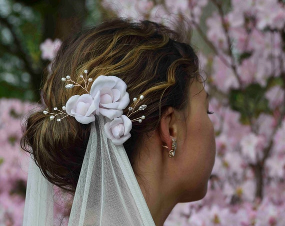 Blush Pink Flower Hair Pins - Bridal Hair Pins