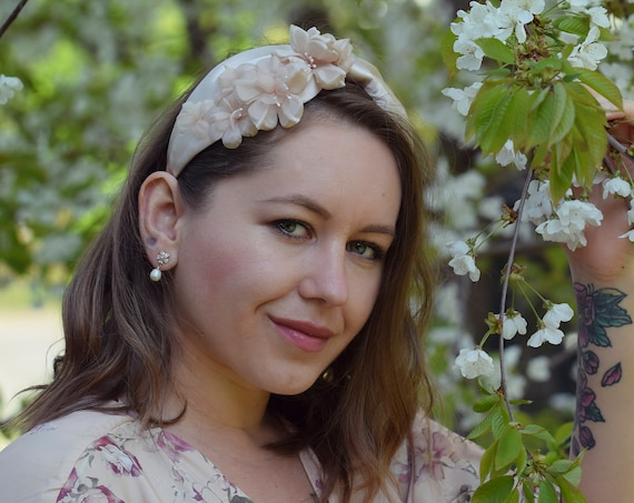 Blush Pink Headband, Cherry Blossom Headpiece, Pink Fascinator, Floral Wedding Fascinator, Hair Accessories, Turban Headband