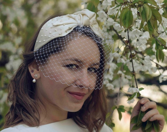 Turban Headband With Birdcage Veil