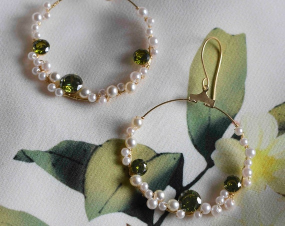 Olive Green Gold Hoop Earrings