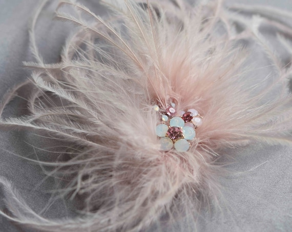 Ostrich Feathers Hair Clip
