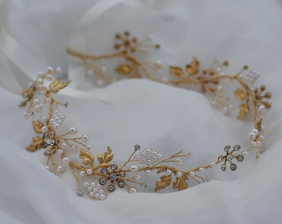 Bridal Hair Vine, Bridal Headpiece, Bridal Tiara, Gold Hair Vine, Bohemian Headpiece, Crystal Hair Vine, Bridal Hair Accessories, Headband