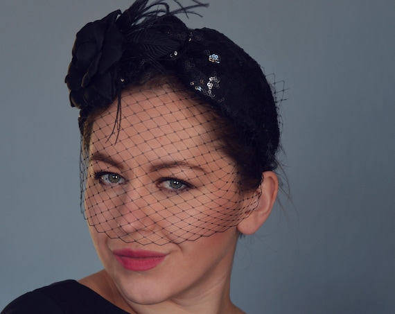 Black Fascinator Headband, Birdcage Veil, Turban Headband, Vintage Style, Evening Turban, Vintage Glamour, Hair Accessories,