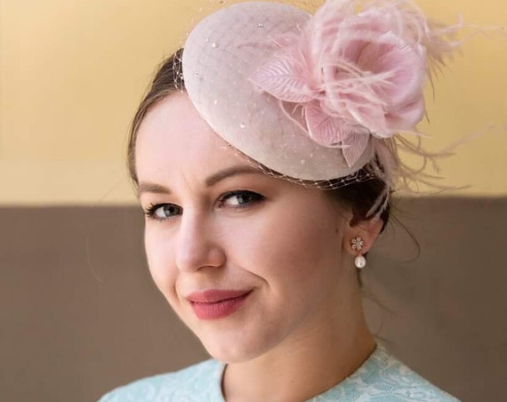 Fascinator Hat, Pillbox Hat, Headdress, Pink Fascinator, Headpiece,  Wedding Hat, Hair Accessories, Cocktail Hat, Hairpiece, Headpiece,