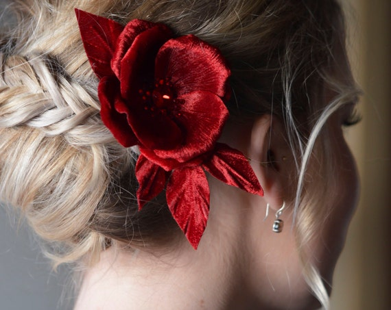 Red Velvet Rose - Hair Flowers - Floral Hairpiece - Red Fascinator - Hair Accessories - Bridal Flowers - Crystal Flower  - Pin Up Flowers